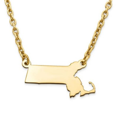 14K Yellow or White Gold Sterling Silver or Gold Plated Silver Massachusetts MA State Map Name Necklace Personalized Engraved Monogram