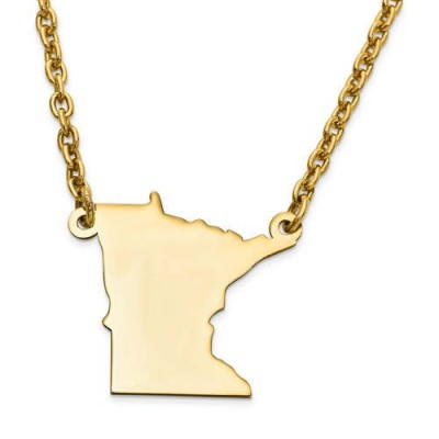 14K Yellow or White Gold Sterling Silver or Gold Plated Silver Minnesota MN State Map Name Necklace Personalized Engraved Monogram CMZ415