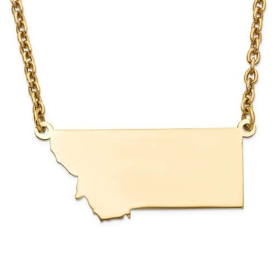 14K Yellow or White Gold Sterling Silver or Gold Plated Silver Montana MT State Map Name Necklace Personalized Engraved Monogram CMZ415
