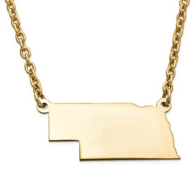 14K Yellow or White Gold Sterling Silver or Gold Plated Silver Nebraska NE State Map Name Necklace Personalized Engraved Monogram CMZ415