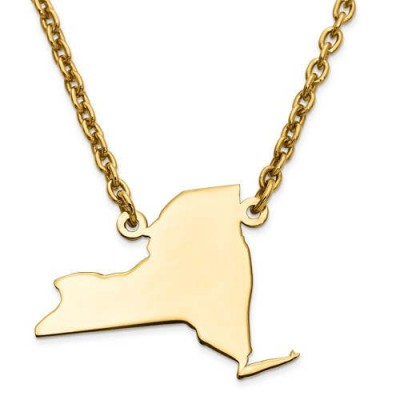 14K Yellow or White Gold Sterling Silver or Gold Plated Silver New York NY State Map Name Necklace Personalized Engraved Monogram CMZ415
