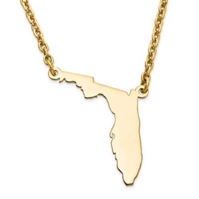 14K Yellow or White Gold or Sterling Silver or Gold Plated Silver Florida FL State Map Name Necklace Personalized Engraved Monogram CMZ415