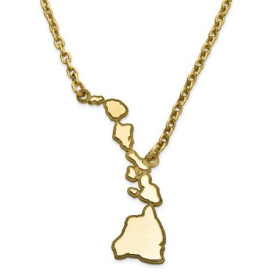 14K Yellow or White Gold or Sterling Silver or Gold Plated Silver Hawaii HI State Map Name Necklace Personalized Engraved Monogram CMZ415