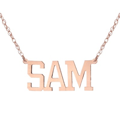 14k Rose Gold Clad 925 Sterling Silver Personalized Custom Made Any Nameplate Pendant Necklace
