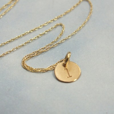 """14k Solid Gold Super Tiny Initial Necklace, Custom 6mm Initial Charm, 1/4"""" 14k Tiny Personalized Charm Necklace for Mom, Sister, BFF. Wife"""