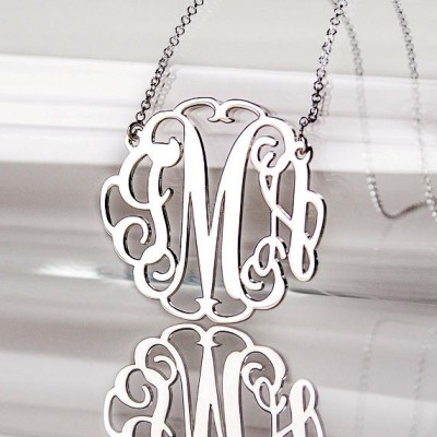 1.5 Inch Large Monogram Necklace in Sterling Silver 0.925
