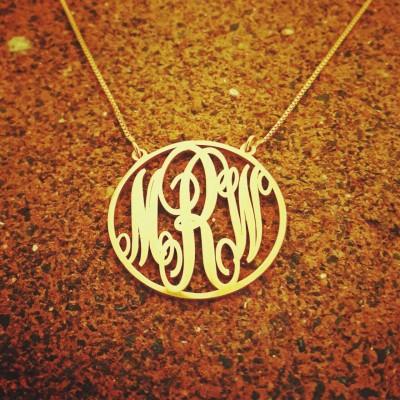 18k Gold Plate Monogram Pendant / Monogram necklace / monogrammed chain / 18k Gold chain / Real Gold Name Necklace / gold personalized chain