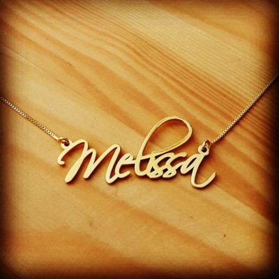 18k Gold Plated Name Necklace Pretty Little Liars Necklace Personalized Signatur Name Necklace Custom made Melissa Nameplate- ORDER ANY NAME