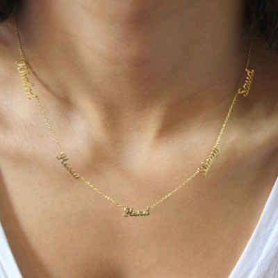 18k Solid Gold Five Name Necklace , 5 Name Necklace ,Personalized Necklace, Gold Multiple Name Necklace / Name Necklace / Mother's Day Gifts