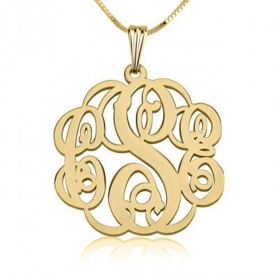 """24K Gold Plated Twisted Monogram Necklace 1.2"""" with chain"""