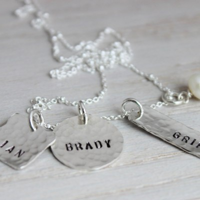 3 names mothers necklace   hand stamped sterling silver mommy neckace   personalized name tag jewelry   push present mixed shapes