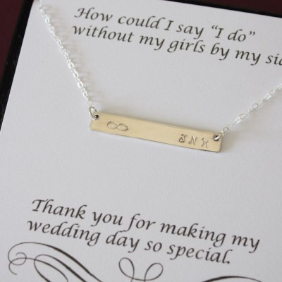 5 Bridesmaid Initial Bar Necklaces, Thin Bar, Rectangle Necklace Silver, Personalized, Bridesmaid Gift, Thin Rectangle, Best Friend