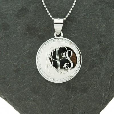 925 Sterling Silver CZ Monogram Pendant, Monogram Necklace, Sterling Silver