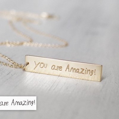Actual Handwriting Bar Necklace - Personalized Signature Necklace - Memorial Sympathy Gift - Mother's Gift  - PN08.30