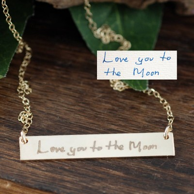 Actual Handwriting Bar Necklace, Loved Ones Handwriting, Monogrammed Necklace, Love you to the Moon Necklace, Meaningful Gifts