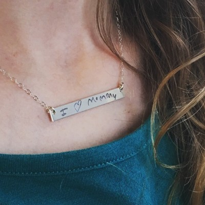 Actual Handwriting Bar Necklace, Signature Bar Necklace, Sterling Silver, Rose gold filled, yellow gold filled, bar necklace with kids