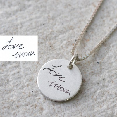 Actual Personalized Necklace,Engraved Signature Bar Necklace,Personal signature,Engrave Necklace,Wedding Gift,For her,Memorial jewelry gift