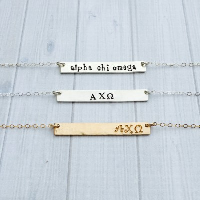 Alpha Chi Omega Necklace - Alpha Chi Omega Jewelry - Sorority Bar Necklace - Sorority Jewelry - Sorority Necklace - AXO Jewelry