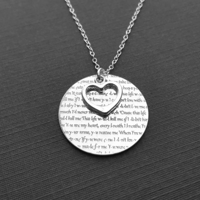 Anniversary Necklace, Anniversary Gift For Her, Wedding Vows Or Wedding Song Engraved Necklace