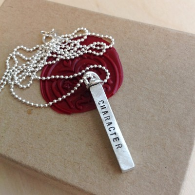 Bar Necklace - Stamped Swivel Bar Necklace - Custom Hand Stamped Bar Necklace - Personalized Stamped Necklace - Your Name, Quote