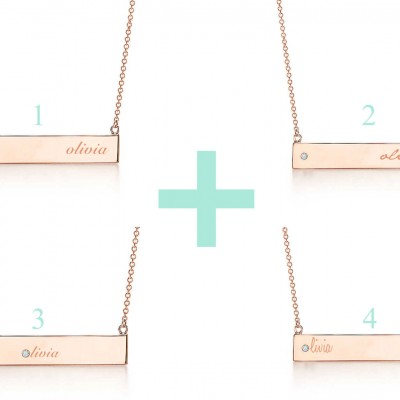 Bar necklace with birthstone / Personalised Handmade Gold Filled Bar Necklace/ Engraved Bar Necklace with Birthstone