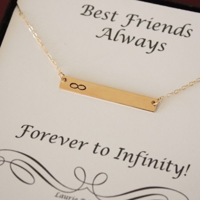 Best Friend inifinity Rectangle Necklace, Monogram, Tiny Bar, Gold Bar, Personalized Necklace, BFF, Name Charm Gold, Thin Bar, Best Friend