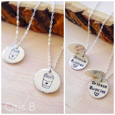 Best friend two necklace gift set, hand stamped, coffee lovers, coffee cups, Starbucks, drinking buddies, friendship jewelry, Otis B