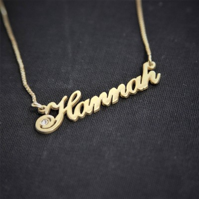 Birthstone style Name Necklace / Hannah / Gold Plated Art font / Name Necklace Custom / handwriting nameplate / Name with Birthstone