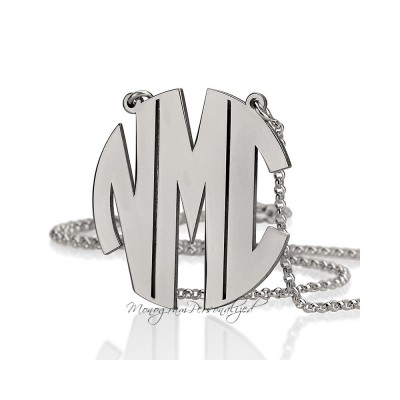 Block Monogram Necklace -  1.5 inch / 3.8cm 925 Sterling Silver - Personalized Monogram