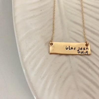 Blue Jean Baby Necklace | Gold Bar Necklace | Stamped Gold Bar Necklace | Song Lyric | Elton John Quote | Song Lyric Necklace