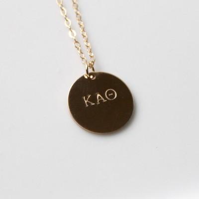 CHI OMEGA Charm Necklace / Chi Omega Necklace /  Sorority Jewelry / Oversized Long Necklace - 14k Gold Filled