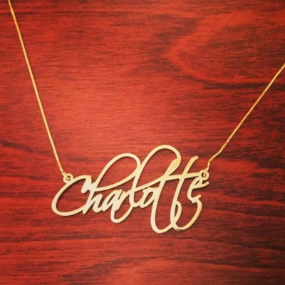 Charlotte Necklace 18k Gold Plated Name Necklace With My Name Pretty Little Liars Necklace Personalized Signatur Nameplate ORDER ANY NAME
