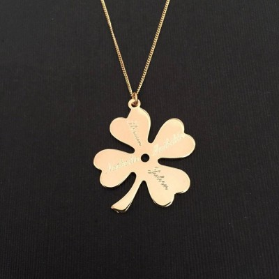 Clover Necklace, Personalized Names Necklace, Four Leaf Necklace, ireland clover necklace, Engrave Necklace, mom necklace, 4 Leaf Clover