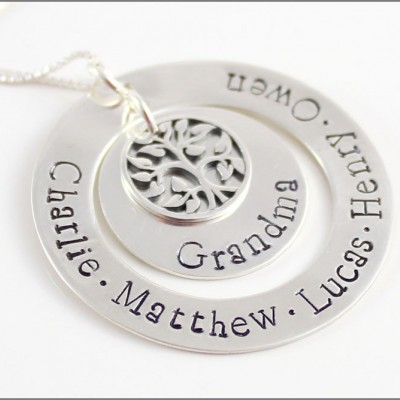 Creative Gifts for Her | Personalized Silver Grandma Necklace, Memorable Gifts for Her, Custom Name Necklace, Popular Gift for Her
