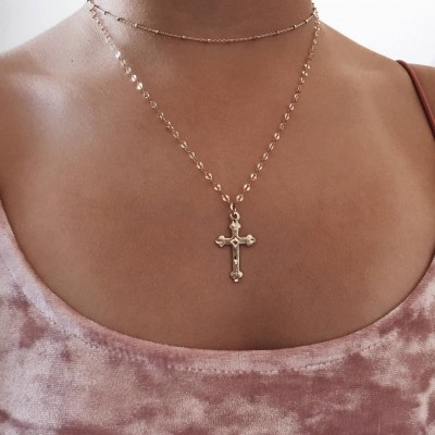 Cross necklace, Dainty gold necklace, simple necklace, 14k GF necklace, Religious necklace,  Gold jewelry
