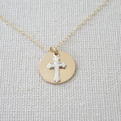 Cross necklace, Sterling silver cross and Gold fill disc necklace, Boy Christening jewelry, Girl Baptism Necklace, Dainty cross necklace