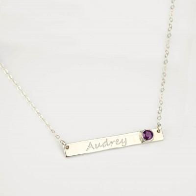 Custom Birthstone necklace, Engraved Bar Necklace, personalized nameplate Necklace, custom name necklace, personalized necklace, name bar