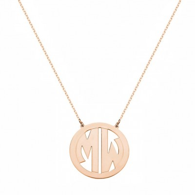 Custom Made 2 Initials Circle Font Monogram Necklace in 14k Rose Gold Over 925 Sterling Silver - Monogram Necklace - Nameplate Necklace