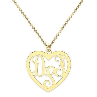 Custom Made 3 Initials Monogram Heart Necklace in 14k Yellow Gold Over 925 Sterling Silver - Monogram Necklace - Nameplate Necklace