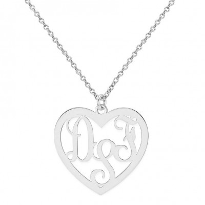 Custom Made 3 Initials Monogram Heart Necklace in 925 Sterling Silver - Monogram Necklace - Nameplate Necklace