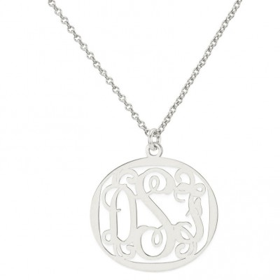 Custom Made 3 Initials Monogram Heart Necklace in Rhodium White Gold Over 925 Sterling Silver - Monogram Necklace - Nameplate Necklace