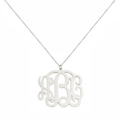 Custom Made 3 Initials Monogram Pendant Necklace in Rhodium White Gold Over 925 Sterling Silver - Monogram Necklace - Nameplate Necklace