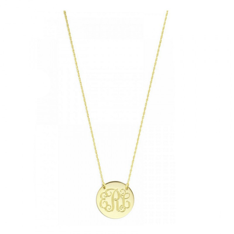 a556c23ddfd10f Custom Made 3 Initials Round Disc Monogram Necklace in 14k Yellow Gold Over  925 Sterling Silver - Nameplate Necklace - Engraved Necklace