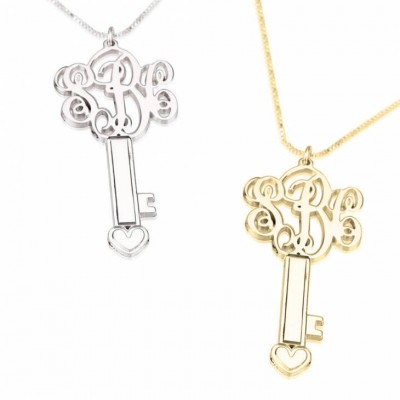 Custom Monogram Key Necklace  You are the Key to my Heart  3  Initial Key Monogram Necklace