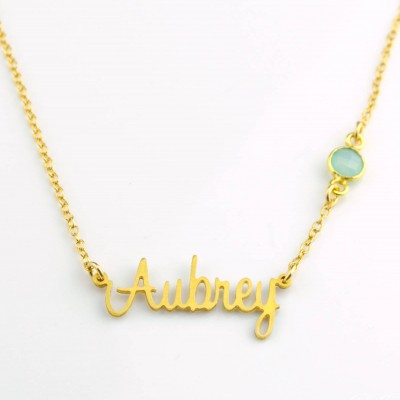 Custom Name Necklace, Birthstone Nameplate necklace, Carrie nameplate necklace gold, Gold name plate Necklace silver, Personalized gift