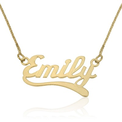 Custom Name Necklaces Solid Gold, 14K Gold Pendant, English Wave2 Style Name Pendant Charm Necklace, Bridesmaid Gift, Personalized Jewelry