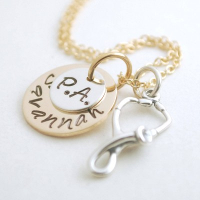 Custom Physicians Assistant Jewelry - PA Necklace - Graduation for PA - Custom Silver Hand Stamped Sterling Silver and Gold Filled