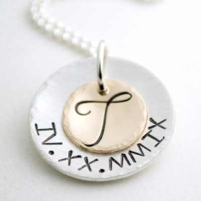 Custom Roman Numeral Date Necklace Stamped Anniversary Jewelry - Personalized - Sobriety Necklace Stamped Sterling Silver Sober Anniversary