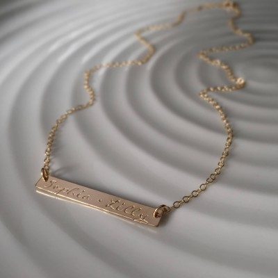 Custom bar Necklace - gold names - hand stamped names - custom layering necklace - gift for her - christmas gift - personalized necklace