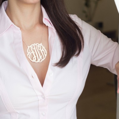 """Customized Monogram Necklace Gift, Women Gold Jewelry, 24K Gold Plated Vermeil 2.5"""" Pendant, Women's Jewelry"""